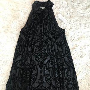 Black Halter Dress with Velvet Detail
